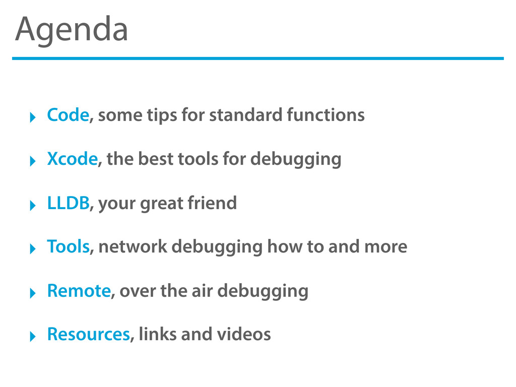 Agenda ‣ Code, some tips for standard functions...