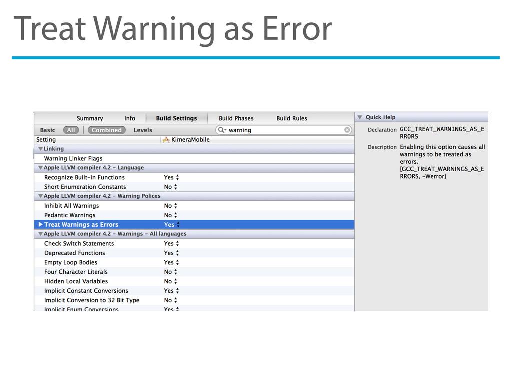 Treat Warning as Error