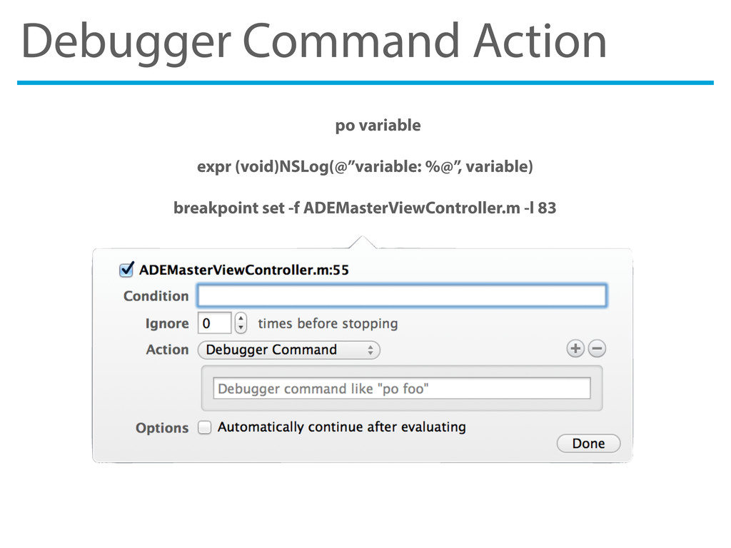 Debugger Command Action po variable expr (void)...