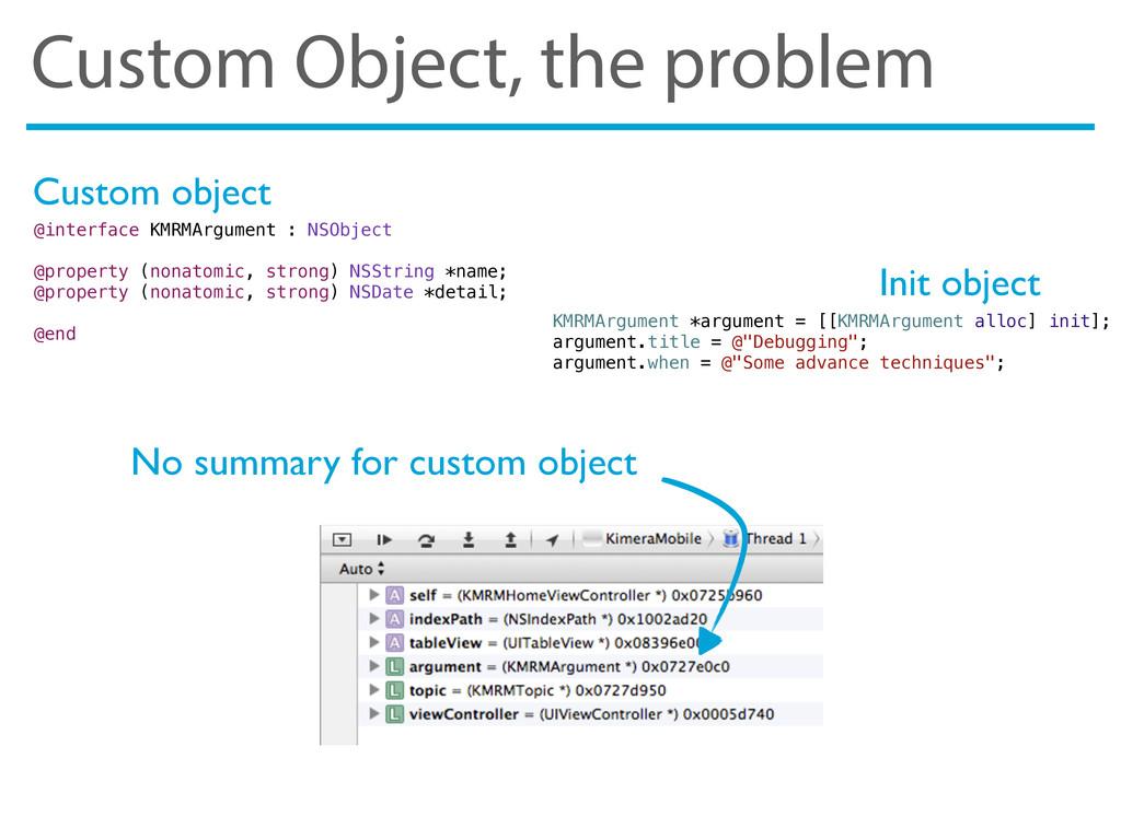 Custom Object, the problem No summary for custo...