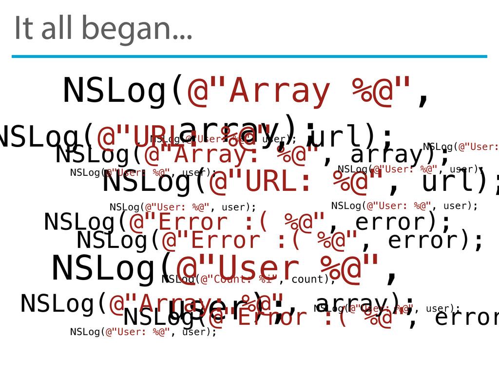 "It all began... NSLog(@""Error :( %@"", error); N..."