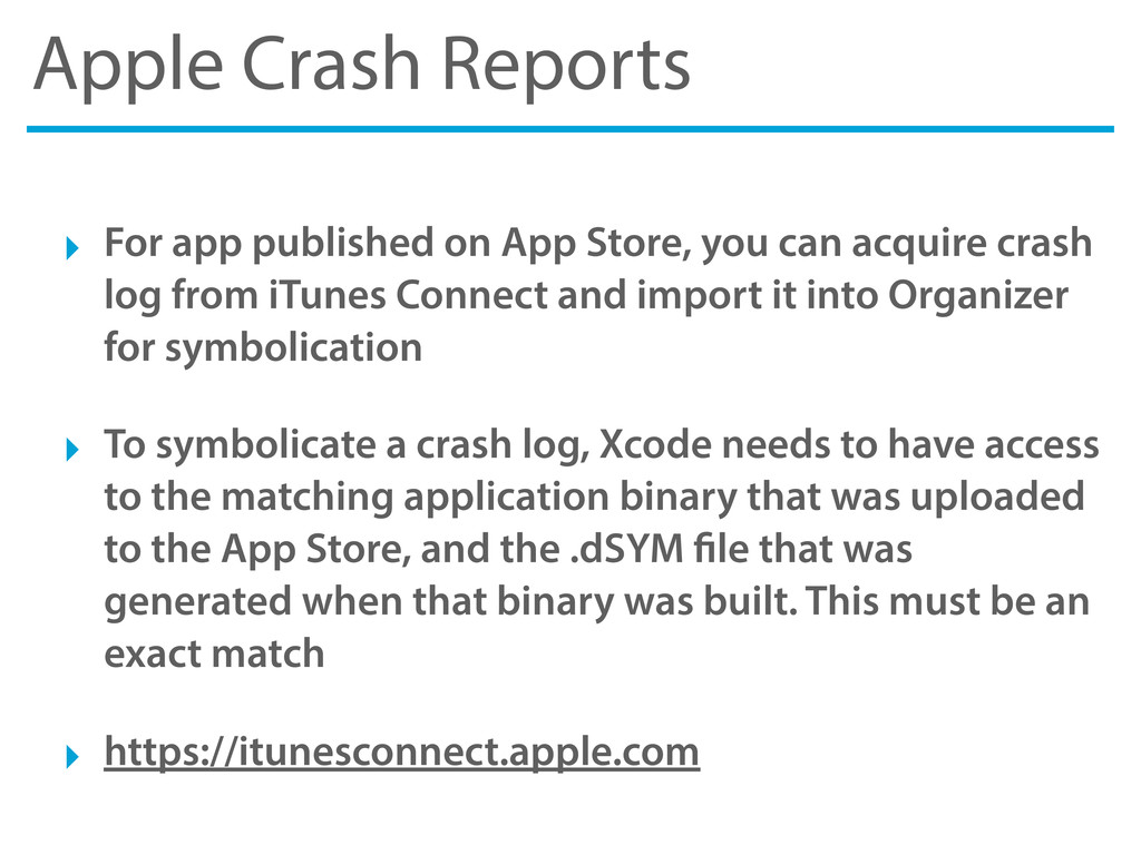 Apple Crash Reports ‣ For app published on App ...