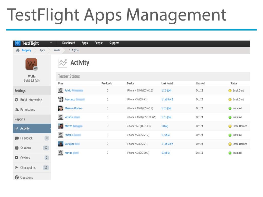 TestFlight Apps Management