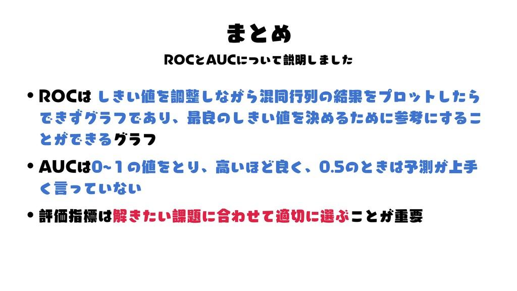 タ ROC るめ る デ 様 るんデ めわ ト るめ 混タドんタ ド めド AUC 「 ト ず...