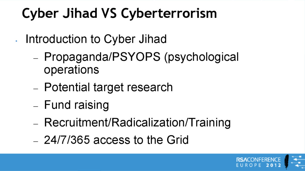 Cyber Jihad VS Cyberterrorism • Introduction to...