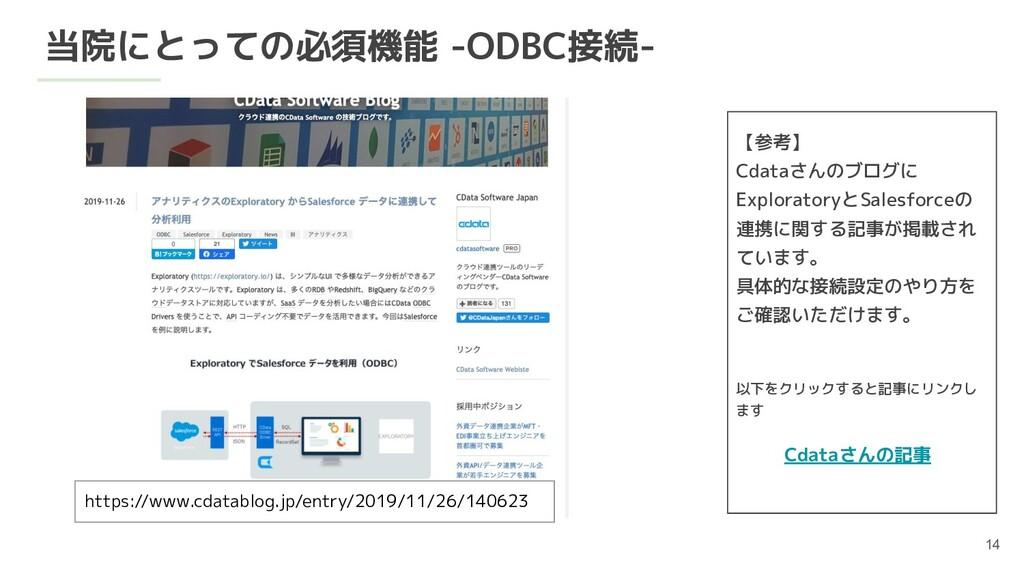 当院にとっての必須機能 -ODBC接続- 【参考】 Cdataさんのブログに Explorat...
