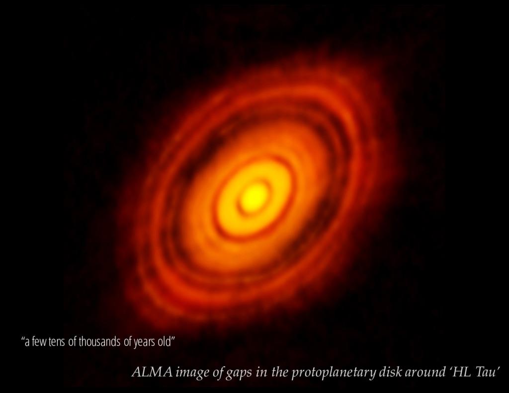 V = 13.3 mag ALMA image of gaps in the protopla...