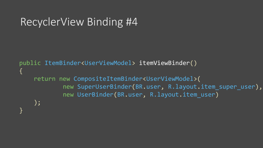 RecyclerView Binding #4 public ItemBinder<UserV...
