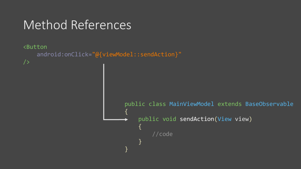 """Method References <Button android:onClick=""""@{vi..."""