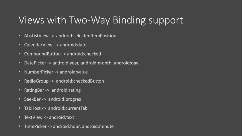 Views with Two-Way Binding support • AbsListVie...