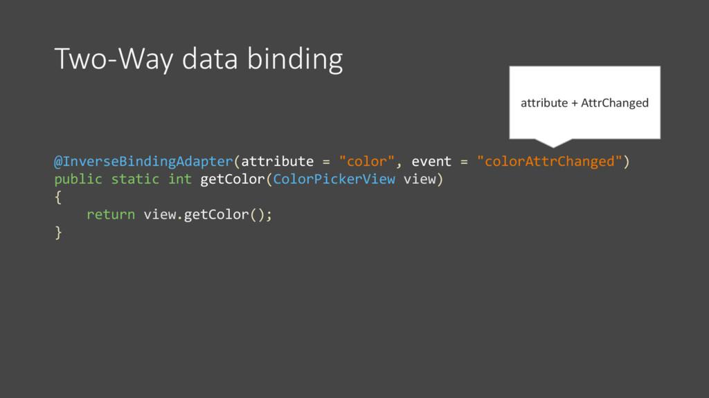 Two-Way data binding @InverseBindingAdapter(att...