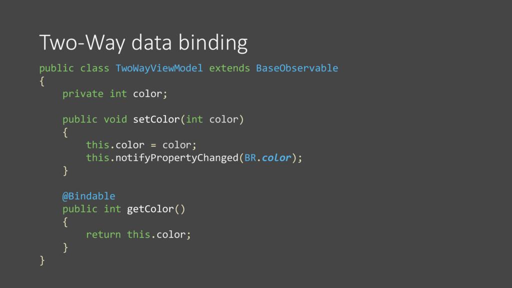 Two-Way data binding public class TwoWayViewMod...