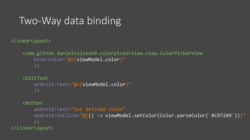 Two-Way data binding <LinearLayout> <com.github...