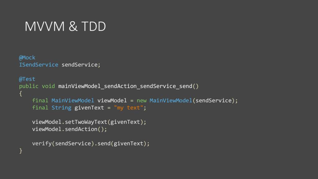 MVVM & TDD @Mock ISendService sendService; @Tes...