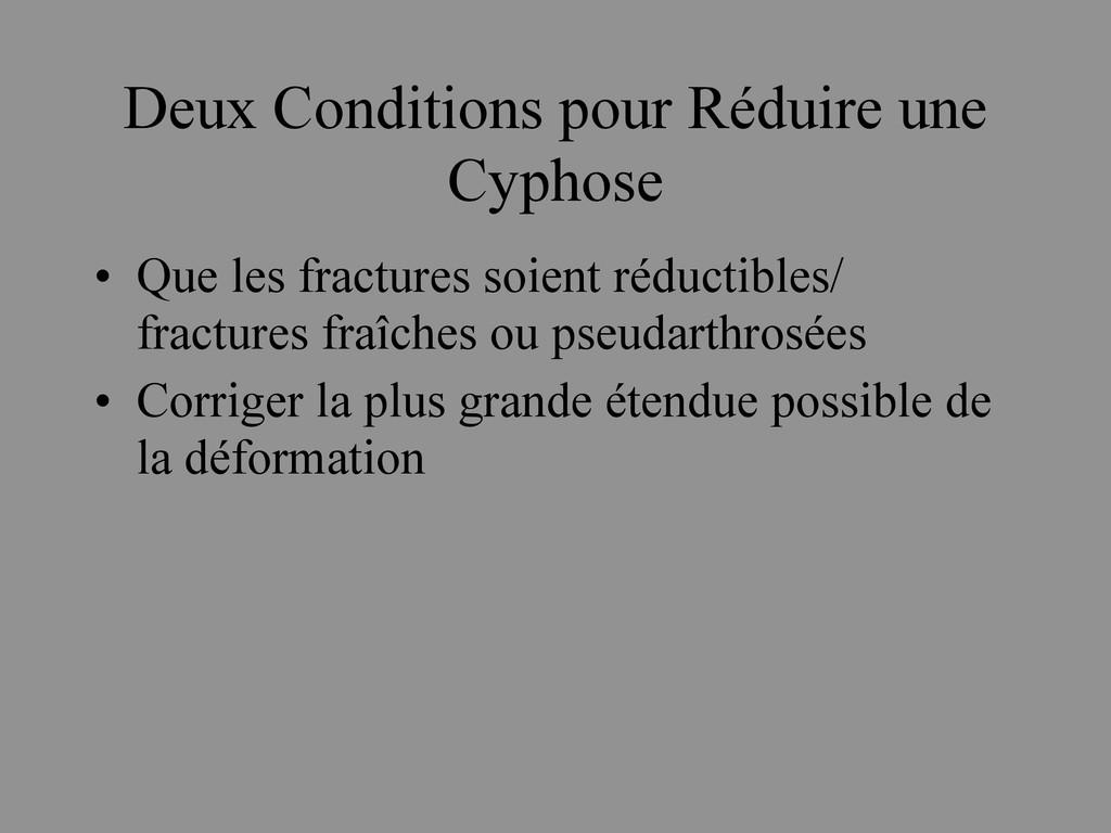 Deux Conditions pour Réduire une Cyphose • Que ...