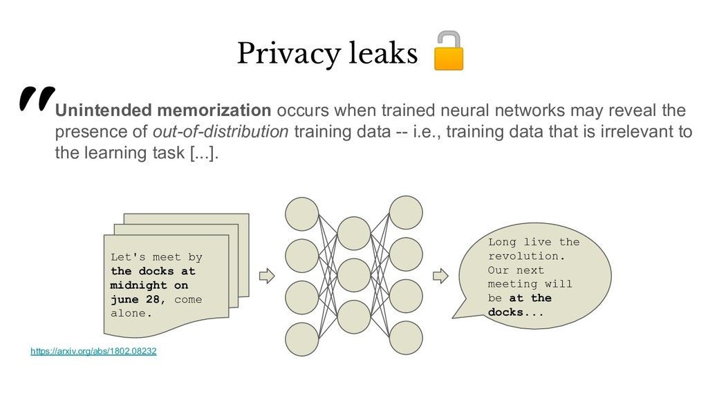 https://arxiv.org/abs/1802.08232 Privacy leaks ...