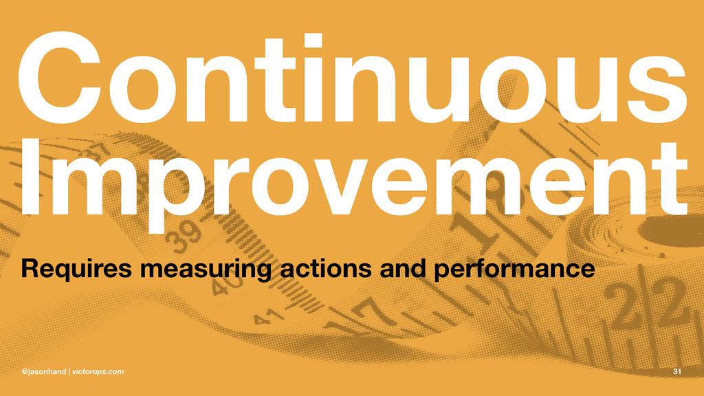 Continuous Improvement Requires measuring actio...
