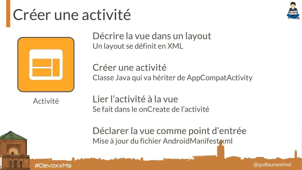 Créer une activité Activité Décrire la vue dans...