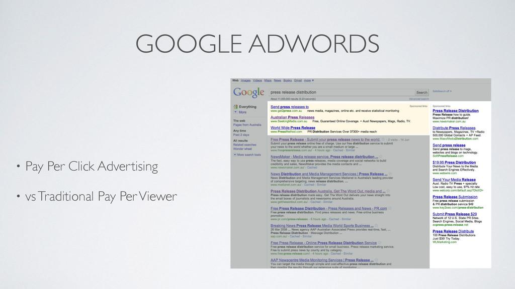 GOOGLE ADWORDS • Pay Per Click Advertising  •...