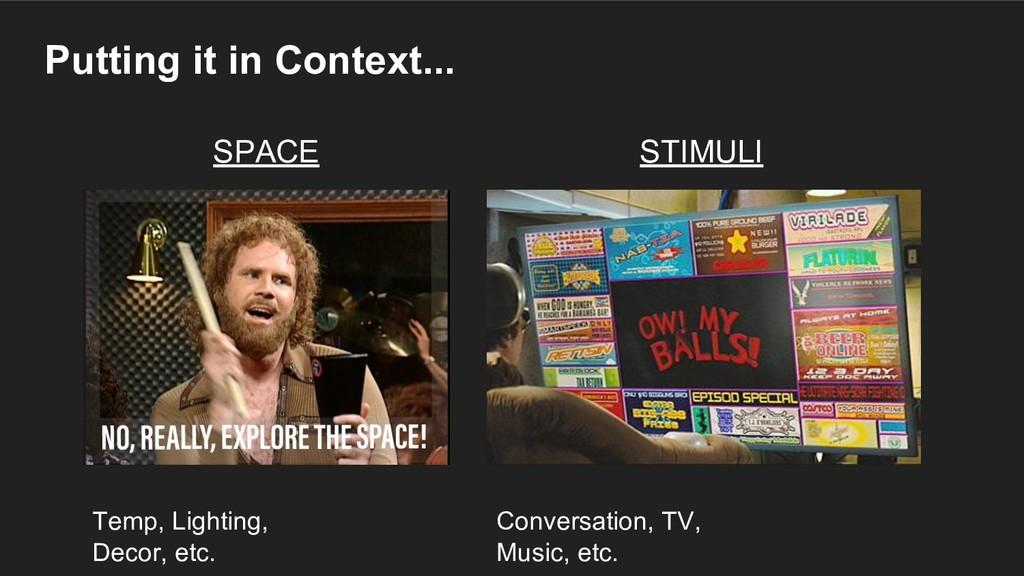 Putting it in Context... SPACE STIMULI Temp, Li...