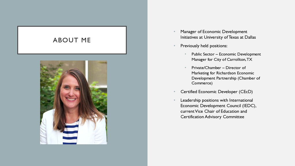 ABOUT ME • Manager of Economic Development Init...
