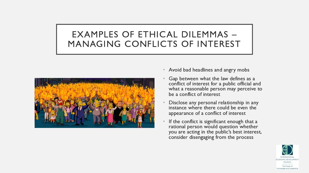 EXAMPLES OF ETHICAL DILEMMAS – MANAGING CONFLIC...