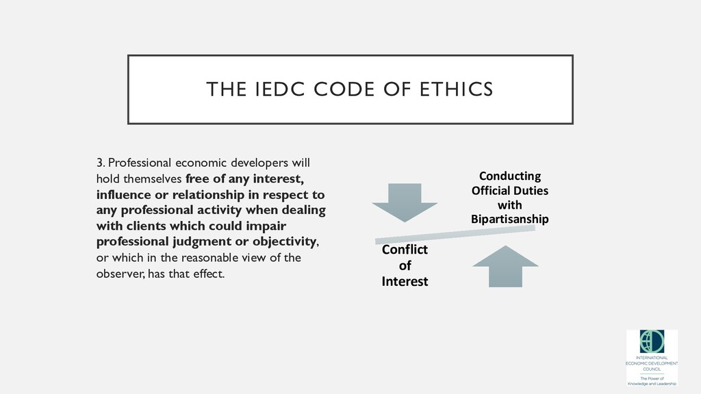 THE IEDC CODE OF ETHICS 3. Professional economi...