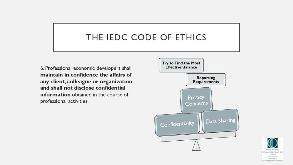 THE IEDC CODE OF ETHICS 6. Professional economi...