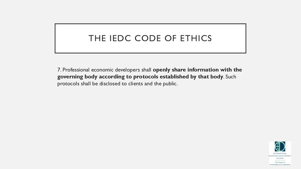 THE IEDC CODE OF ETHICS 7. Professional economi...