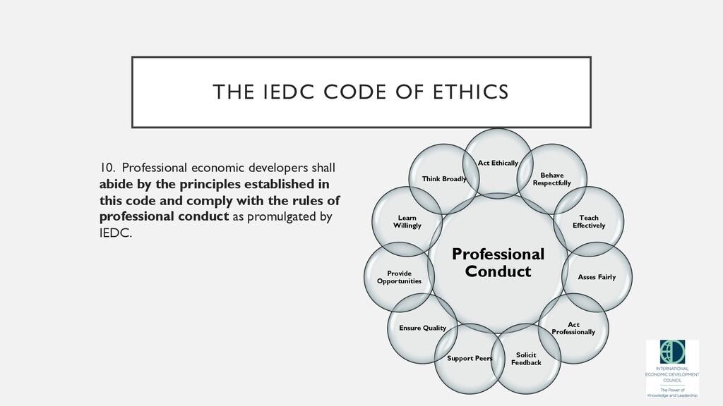 THE IEDC CODE OF ETHICS 10. Professional econom...
