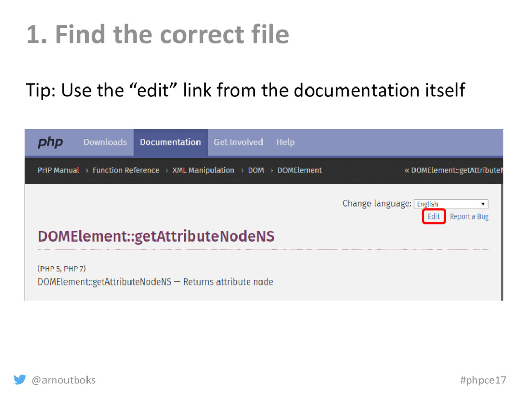 @arnoutboks #phpce17 1. Find the correct file T...