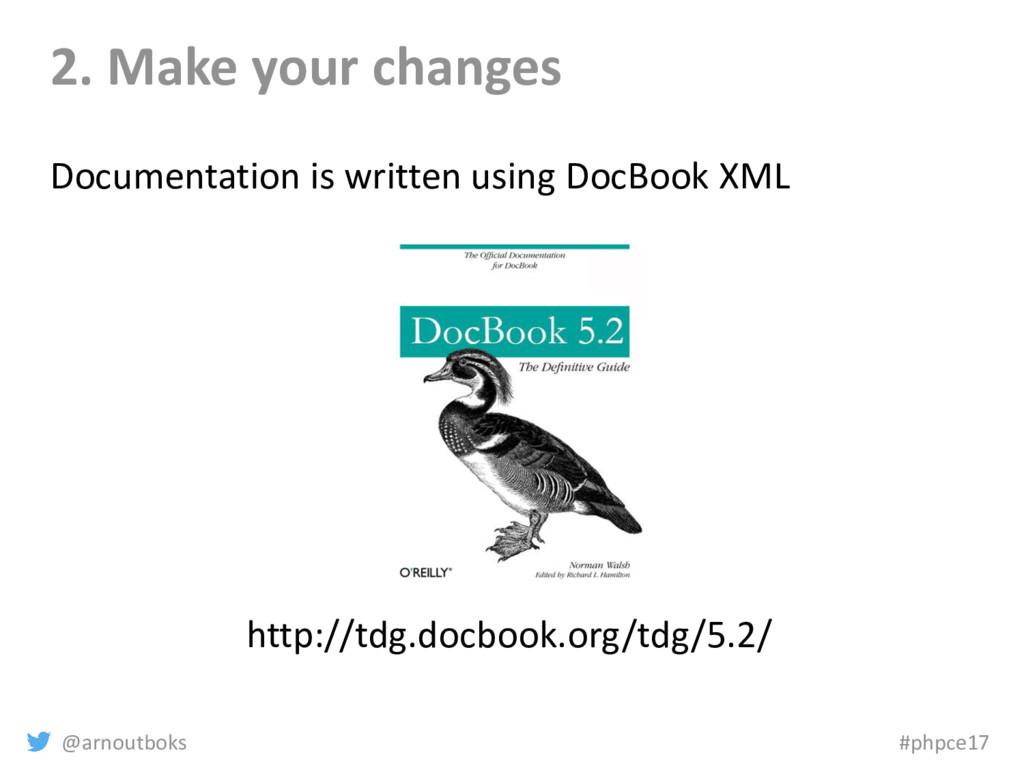 @arnoutboks #phpce17 2. Make your changes Docum...