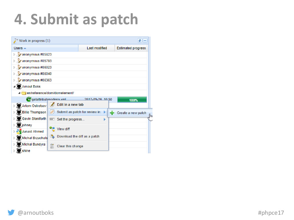 @arnoutboks #phpce17 4. Submit as patch