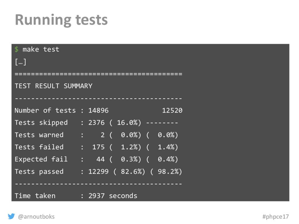 @arnoutboks #phpce17 Running tests $ make test ...