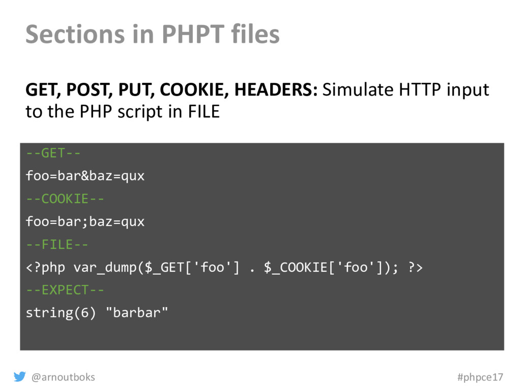 @arnoutboks #phpce17 Sections in PHPT files GET...