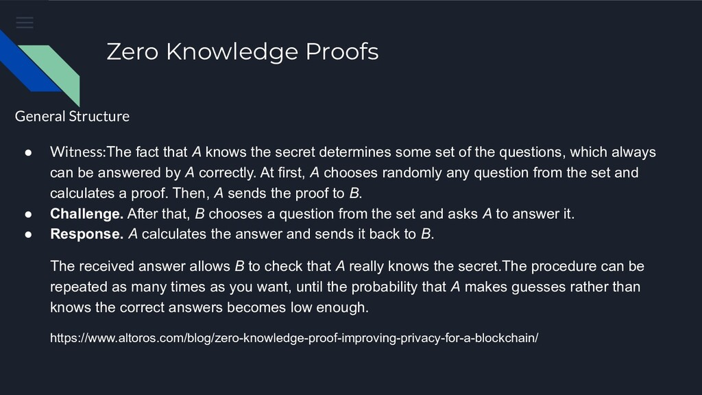 Zero Knowledge Proofs General Structure ● Witne...