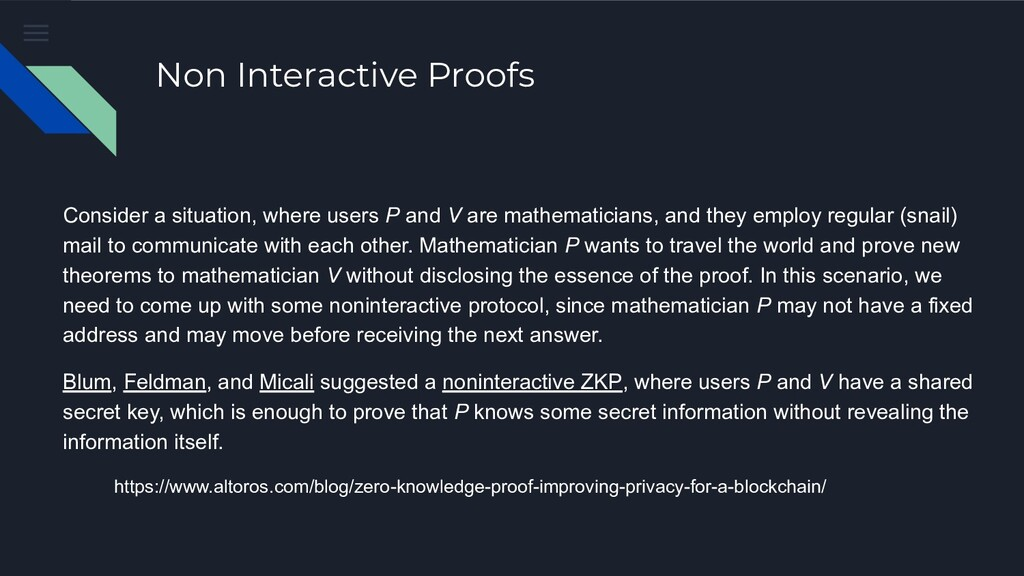 Non Interactive Proofs Consider a situation, wh...