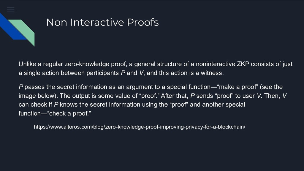 Non Interactive Proofs Unlike a regular zero-kn...