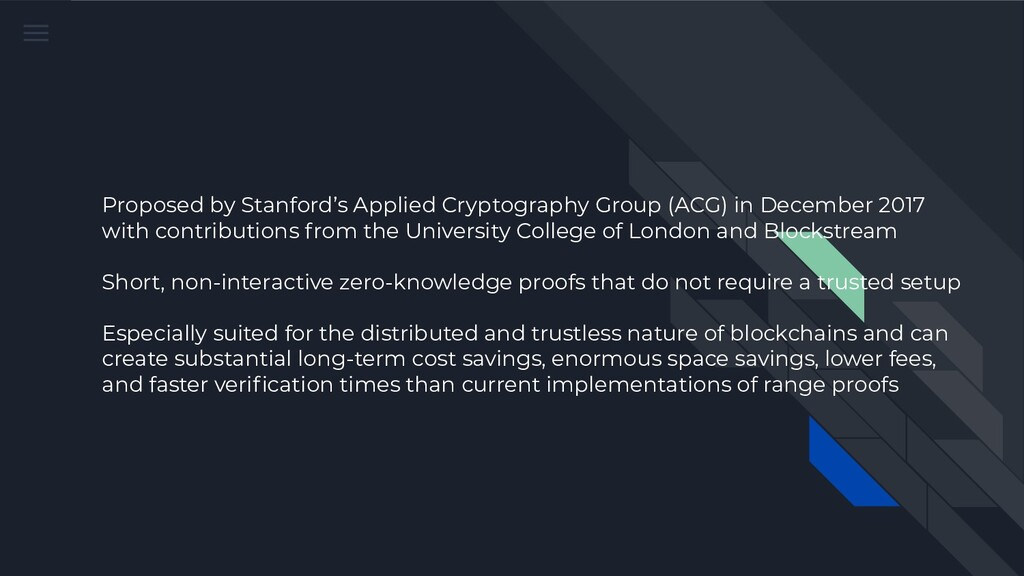 Proposed by Stanford's Applied Cryptography Gro...