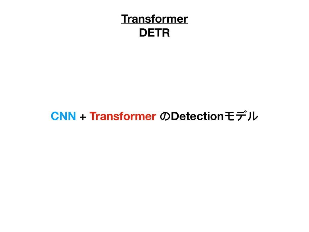 Transformer DETR CNN + Transformer のDetectionモデル