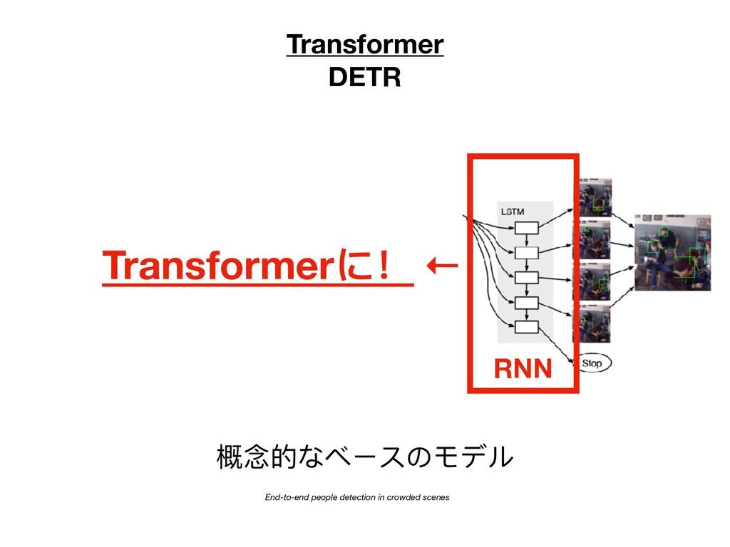 Transformer DETR 概念的なベースのモデル CNN End-to-end peo...