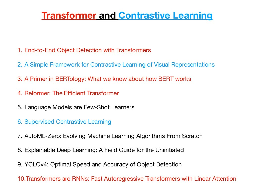 Transformer and Contrastive Learning 1. End-to-...