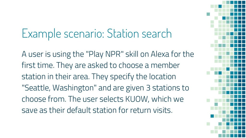 Example scenario: Station search A user is usin...