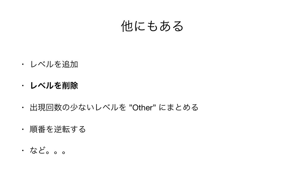 "ଞʹ͋Δ • ϨϕϧΛՃ  • ϨϕϧΛআ • ग़ݱճͷগͳ͍ϨϕϧΛ ""Other""..."