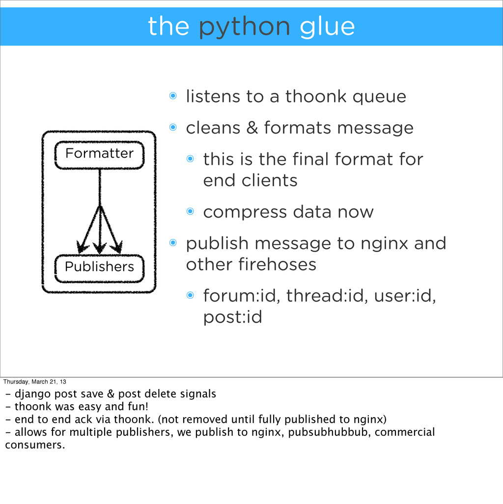 the python glue ๏ listens to a thoonk queue ๏ c...