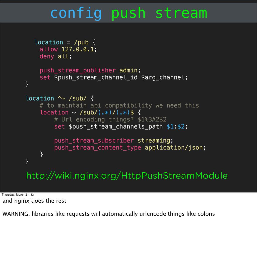 config push stream location = /pub { allow 127....