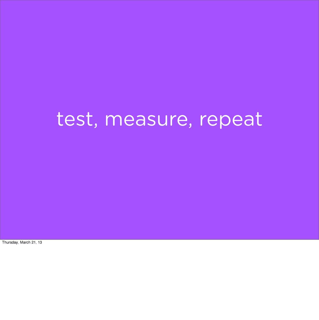 test, measure, repeat Thursday, March 21, 13