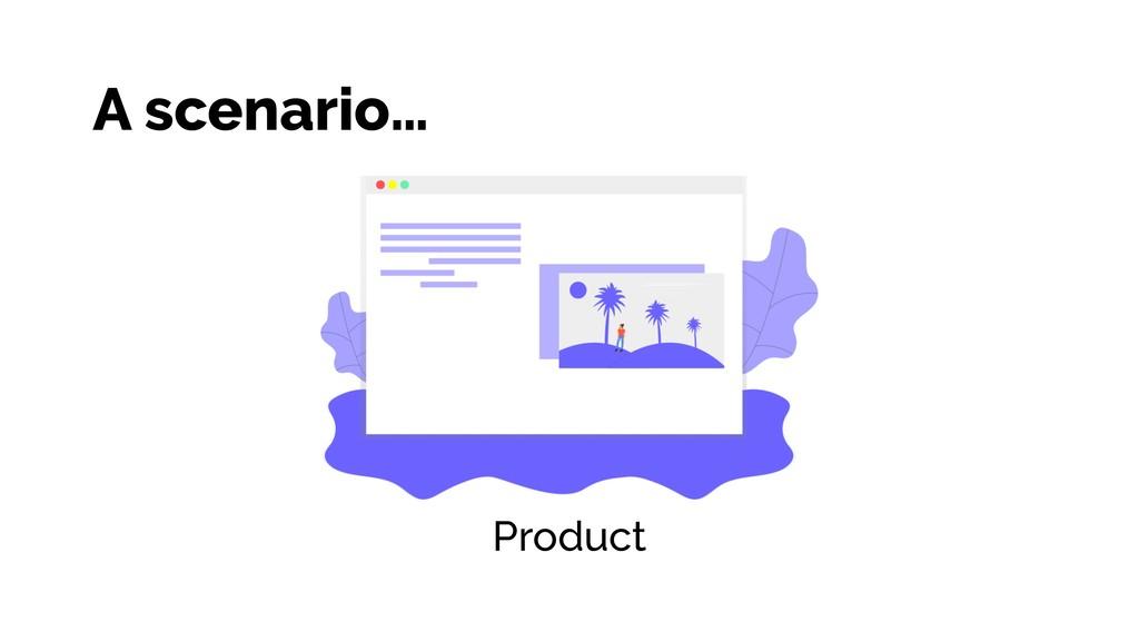 A scenario… Product