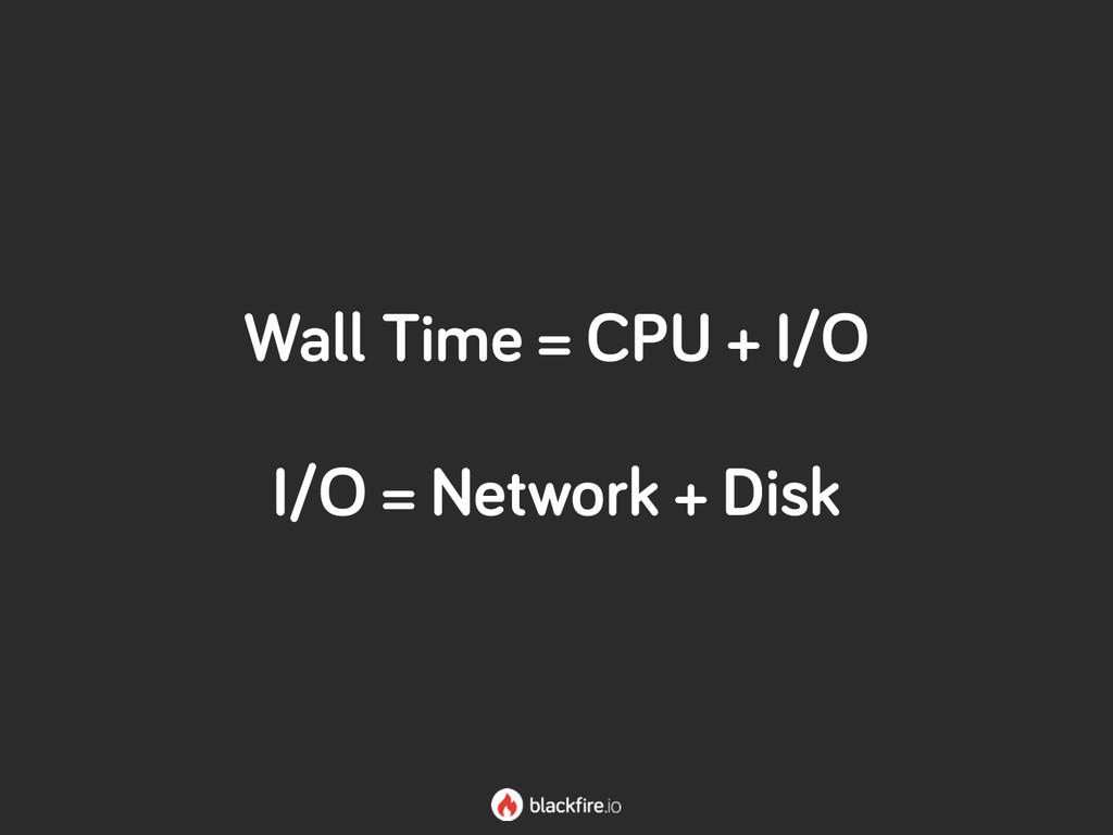 Wall Time = CPU + I/O I/O = Network + Disk