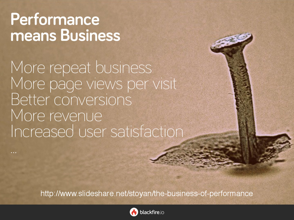 Performance means Business More repeat business...